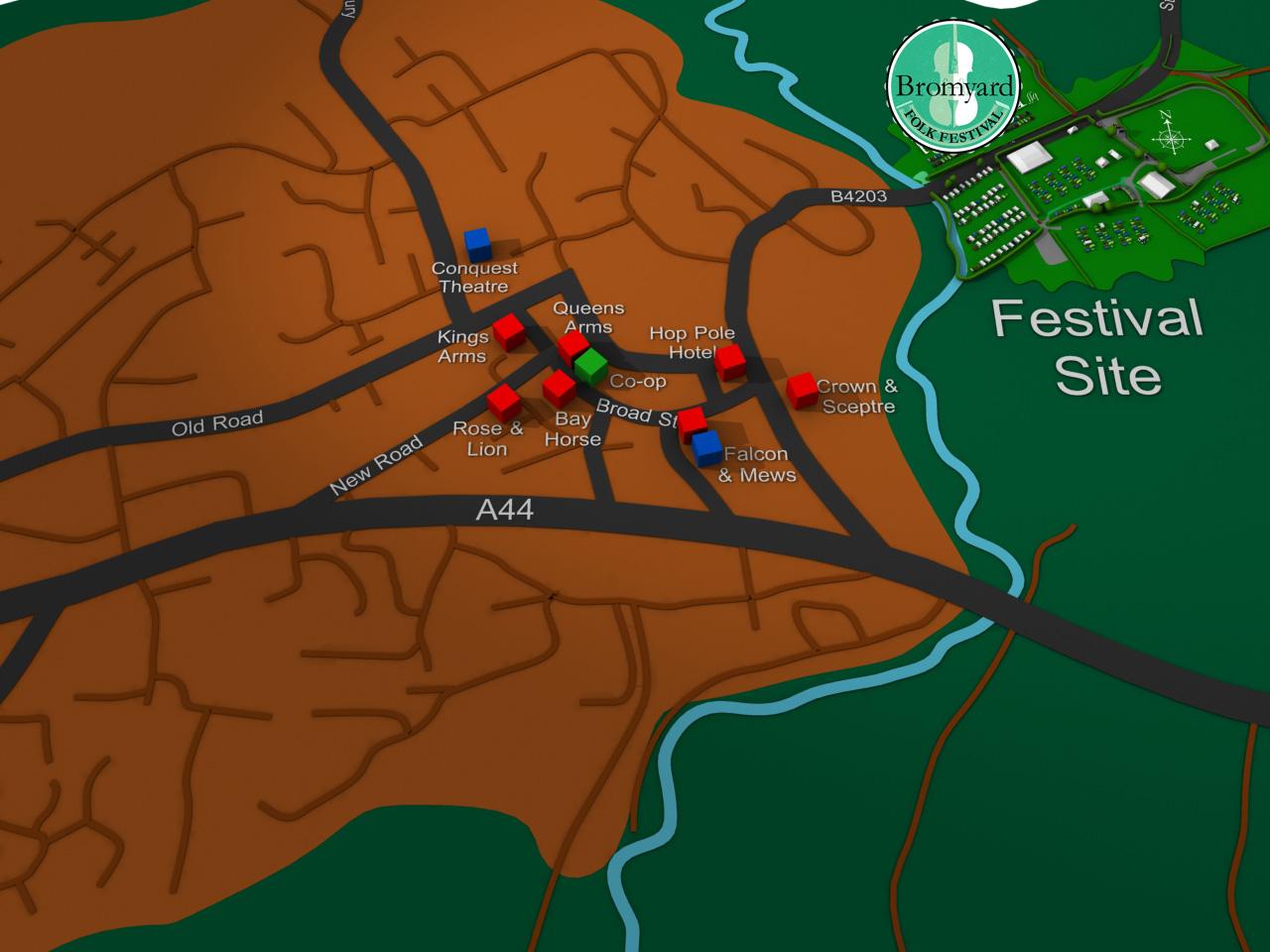 Bromyard Folk Festival Town map