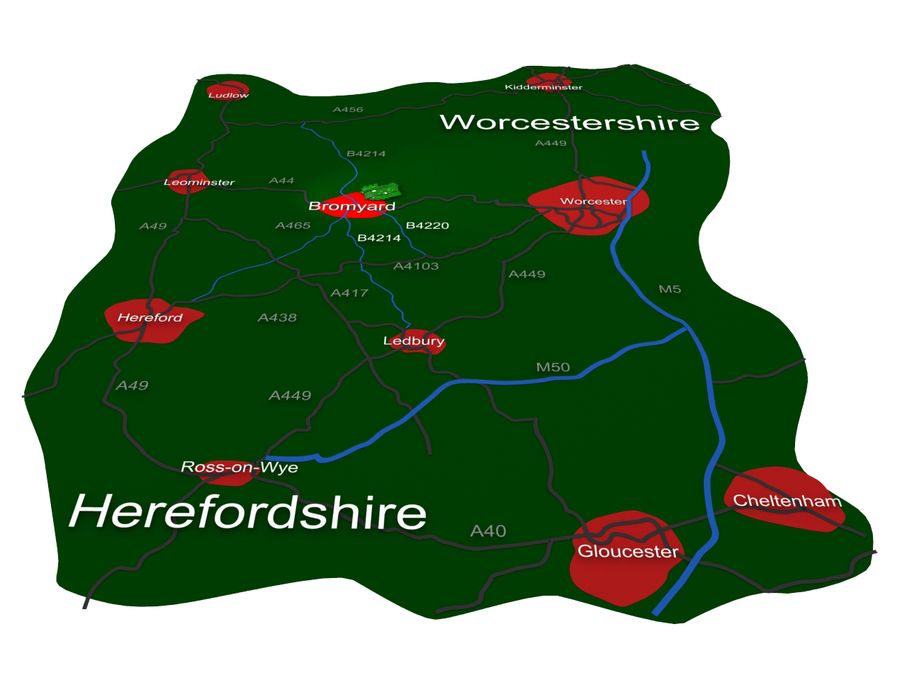 Bromyard Folk Festival Herefordshire map