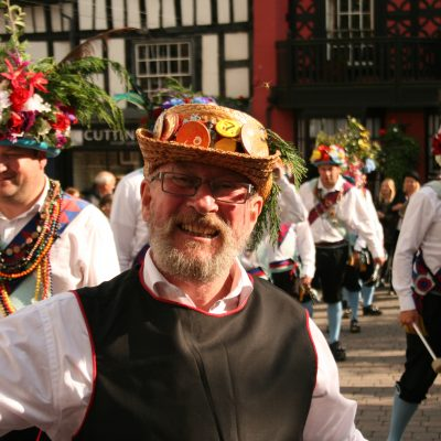Shakespeare Morris man in front of Earlsdson Morris by Meg Hanlon