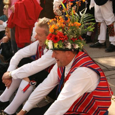 Saddleworth Morris watching Earlsdon in the town square by Meg Hanlon
